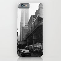 iPhone & iPod Case featuring El on a Foggy Day Chicago Black and White Photo by ginaphoto