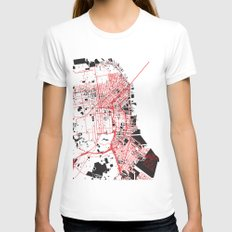 San Francisco Noise Map Womens Fitted Tee White SMALL