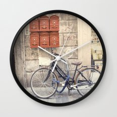 bike love::rome, italy Wall Clock