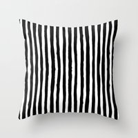 Black and White Vertical Stripes Throw Pillow