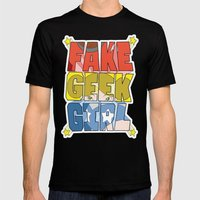 FAKE GEEK GIRL Mens Fitted Tee Black SMALL