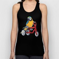 Parrot macaw on red bike Unisex Tank Top