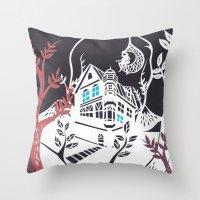 Round Tree House Throw Pillow