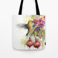 Hummingbird and Fuchsia Watercolor Tote Bag