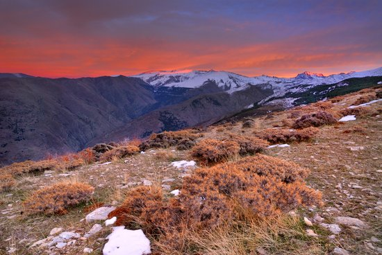 """""""Red sunset over the high mountains"""" Art Print"""