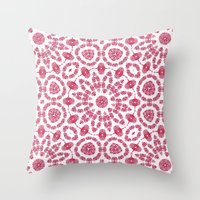Ruby Mandala Tile 2 Throw Pillow