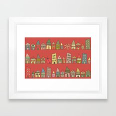 City {Housylands - red} Framed Art Print
