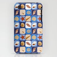 iPhone 3Gs & iPhone 3G Cases featuring Seashells on Blue Repeat by Faye Maguire Designs