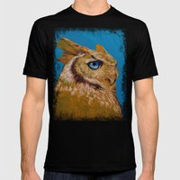 Great Horned Owl Mens Fitted Tee Black SMALL