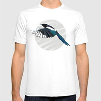 Magpie in Flight Mens Fitted Tee White SMALL
