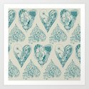 Blue and beige tangled heart pattern Art Print