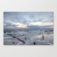 Cold Sundown At The Beac… Canvas Print