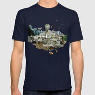 Collage City Mix 7 Mens Fitted Tee Navy SMALL