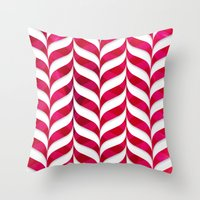 Red Leaf Herringbone Throw Pillow