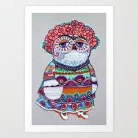 Mexican folk owl Art Print