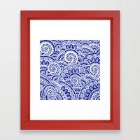 Midnight Blue Maze Framed Art Print