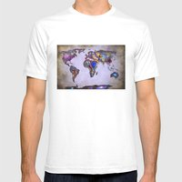 Stars world map. Space. Mens Fitted Tee White SMALL