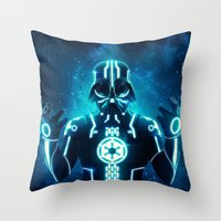 Tron Vader Blue Throw Pillow