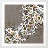 Diagonal flower – brown and olive green fiber Art Print