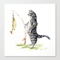 Cat with a Fish Canvas Print