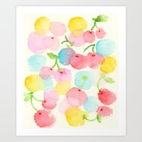 cherry blossom Art Prints featuring cherry blossom by zeze