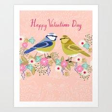 Love Birds valentines day birding illustration florals spring love by Andrea Lauren  Art Print