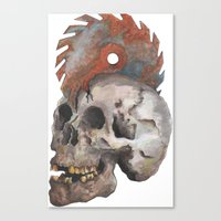 Inked Up Skull Canvas Print