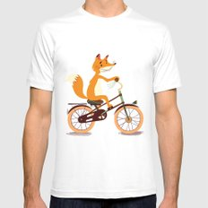 Little fox on the bike SMALL Mens Fitted Tee White