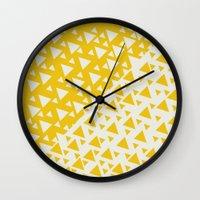 Yellow Triangles Wall Clock