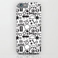 Black funky icons on white background iPhone 6 Slim Case