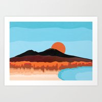 Landscape of Naples with volcano Vesuvio Art Print