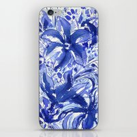 Blue flowers. iPhone & iPod Skin