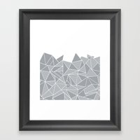 Abstract Mountain Grey on White Framed Art Print