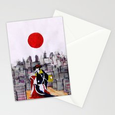 Japanese man in A Japanese landscape Stationery Cards