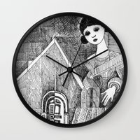 Girl on the top of her house. Wall Clock