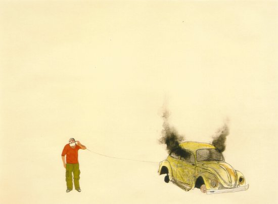 man listening a car burning Art Print