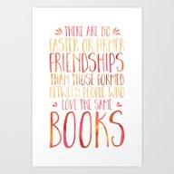 Bookish Friendship - Red… Art Print