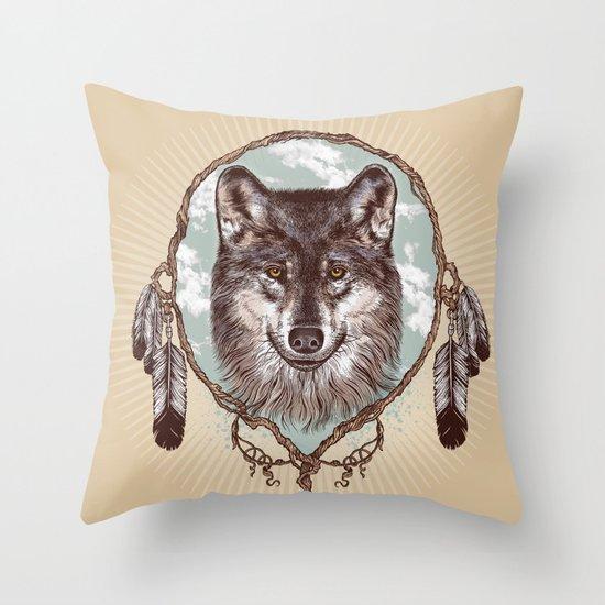 Gray Wolf Throw Pillow
