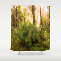 Large fern in mystical forest Shower Curtain