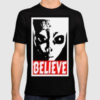 BELIEVE (ALIEN) Mens Fitted Tee Black SMALL