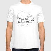Rhino during Midnight in Paris Mens Fitted Tee White SMALL