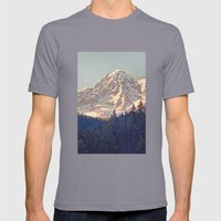 Mount Rainier Retro Mens Fitted Tee Slate SMALL