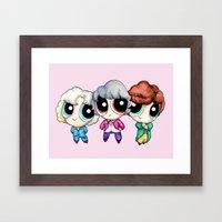 Golden Puff Girls Framed Art Print