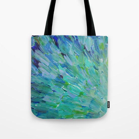 SEA SCALES - Beautiful Ocean Theme Peacock Feathers Mermaid Fins Waves Blue Teal Color Abstract Tote Bag