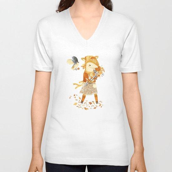 Dakota the Daisy Deer V-neck T-shirt