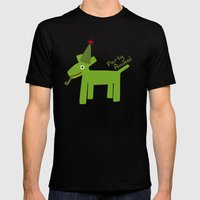 Party Animal-Green Mens Fitted Tee Black SMALL