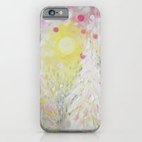 iPhone & iPod Case featuring Snowing Pink Polka Dots Sky Lights by RokinRonda