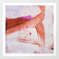 Brush Strokes Purple Ora… Art Print