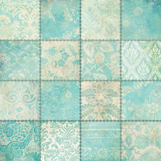 Blue Patchwork Art Print