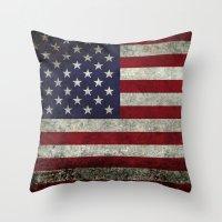 American Flag, Old Glory in dark worn grunge Throw Pillow